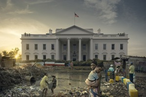 Image of the White House with a sanitation problem