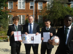 Ed Davey MP with pupils at Coombe Boys' School