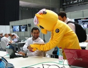 MOSOTOS mascot delivers a press release in the media room