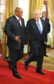 President Zuma of South Africa and Sepp Blatter, President of FIFA