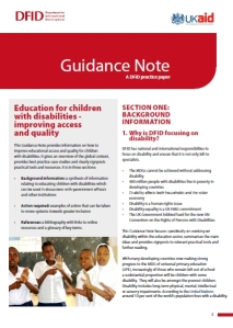 Front page of DFID's guidance note on education and disability